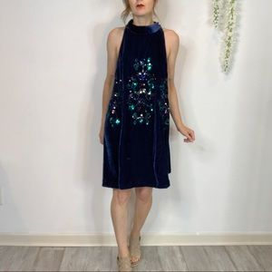 NWT FREE PEOPLE velvet trapeze dress sequins 1737